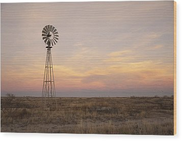 Sunset On The Texas Plains Wood Print