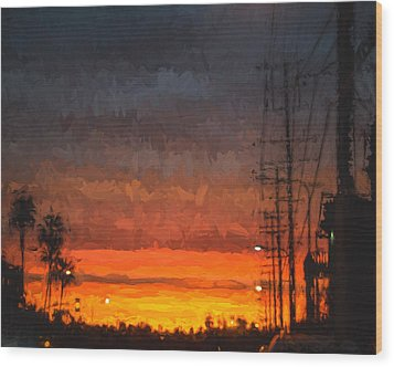 Wood Print featuring the painting Sunset On Ventura Boulevard by Ike Krieger