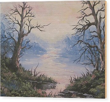 Wood Print featuring the painting Sunset On Water by Megan Walsh