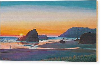 Sunset - Oregon Coast Wood Print by Paul Krapf