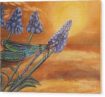 Wood Print featuring the painting Summer Sunset Over A Dragonfly by Kimberlee Baxter