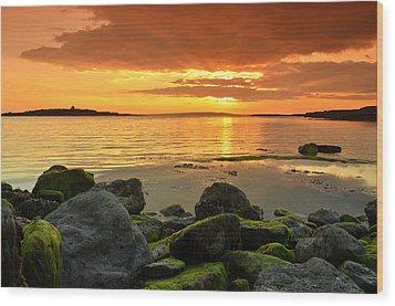 Sunset Over Aran Wood Print