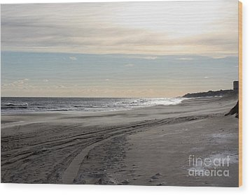 Sunset Over Atlantic Ocean In Montauk Wood Print by John Telfer
