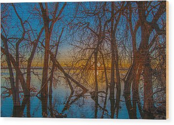 Sunset Over Barr Lake_2 Wood Print by Tom Potter