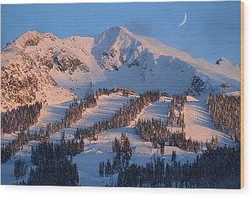 Sunset Over Blackcomb Mountain Wood Print by Pierre Leclerc Photography