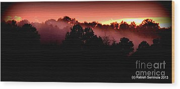 Sunset Over Blue Horse Rescue Wood Print