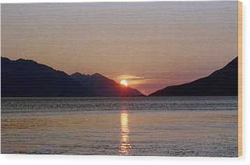 Sunset Over Cook Inlet Alaska Wood Print by Denyse Duhaime