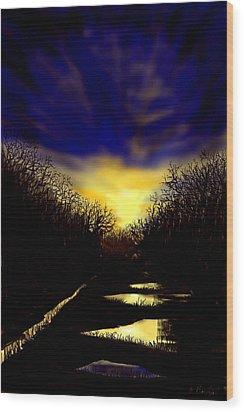 Sunset Over Disused Railway Tracks Wood Print
