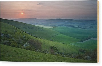 Sunset Over English Countryside Escarpment Landscape Wood Print by Matthew Gibson