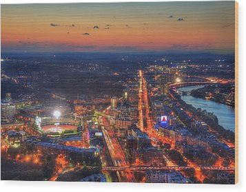 Sunset Over Fenway Park And The Citgo Sign Wood Print by Joann Vitali