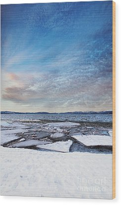 Sunset Over Frozen Lake Wood Print
