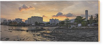 Sunset Over Georgetown Penang Malaysia Wood Print by JPLDesigns