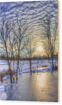 Sunset Over Ice Wood Print by William Wetmore