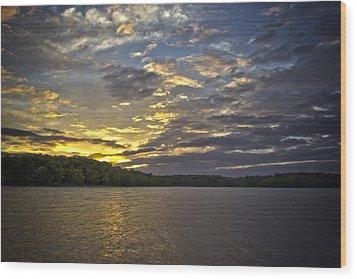Sunset Over Kerr Lake Wood Print