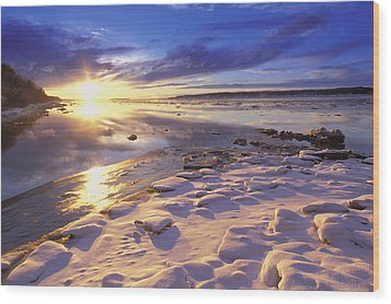 Sunset Over Knik Arm & Six Mile Creek Wood Print by Michael DeYoung