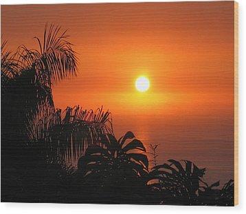 Sunset Over Kona Hawaii Wood Print by Sabine Edrissi