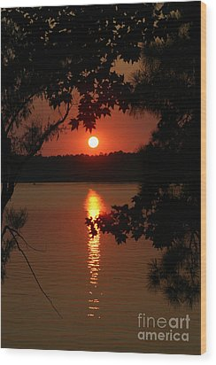 Sunset Over Lake Wood Print by D Wallace