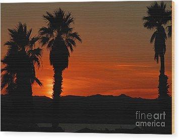 Sunset Over Lake Havaus   Wood Print