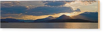 Sunset Over Lake Pend Oreille Wood Print by Marie-Dominique Verdier