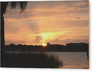 Sunset Over Lake Semniole Wood Print by Julie Cameron