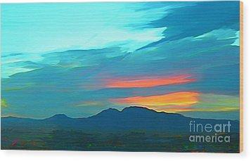 Sunset Over Las Vegas Hills Wood Print by John Malone