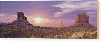 Sunset Over Mountain Valley Wood Print by Aged Pixel
