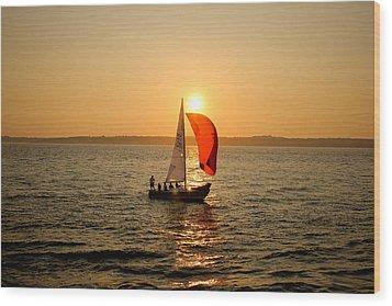 Sunset Over Narragansett Bay Wood Print by Allan Millora