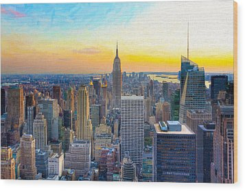 Sunset Over New York City Wood Print by Mark E Tisdale