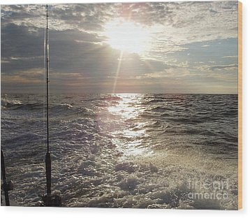 Sunset Over Nj After Fishing Wood Print by John Telfer