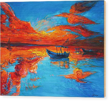 Sunset Over Ocean Wood Print by Ivailo Nikolov