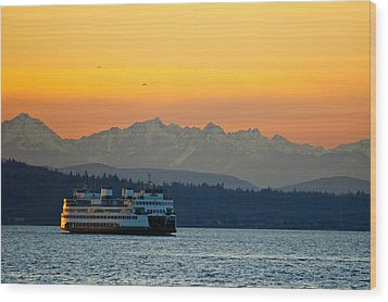Sunset Over Olympic Mountains Wood Print