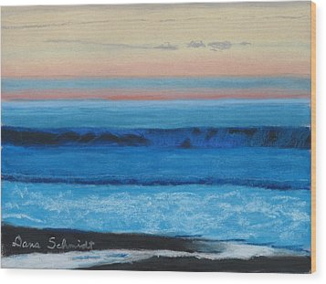Sunset Over Pacfic Ocean Surf Wood Print