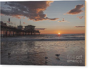 Sunset Over Pacific Wood Print