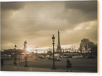 Sunset Over Paris Wood Print by Steven  Taylor