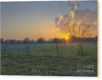 Sunset Over Poteet Texas Wood Print