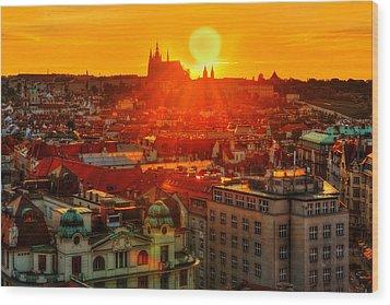 Sunset Over Prague Wood Print