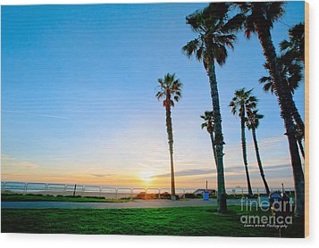 Sunset Over Santa Barbara Wood Print by Artist and Photographer Laura Wrede