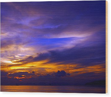 Sunset Over Sea Wood Print by Kaleidoscopik Photography