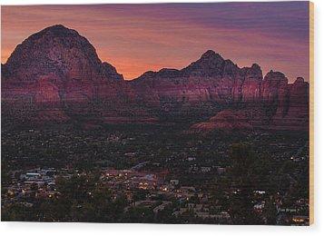 Sunset Over Sedona Az Wood Print by Tim Bryan