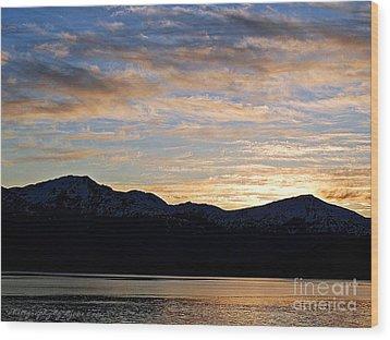 Sunset Over Skagway Ak Wood Print by Gena Weiser