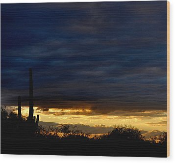 Sunset Over Sonoran Desert Wood Print by Jon Van Gilder