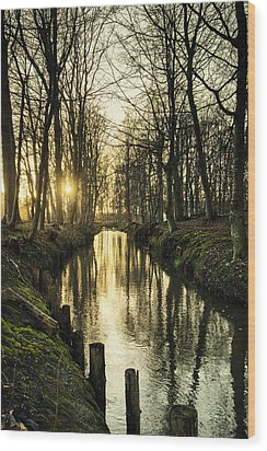 Sunset Over Stream Wood Print