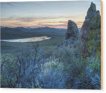 Sunset Over Sunflower Reservoir Wood Print by Jenessa Rahn