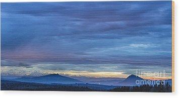 Sunset Over The European Alps Wood Print by Bernd Laeschke