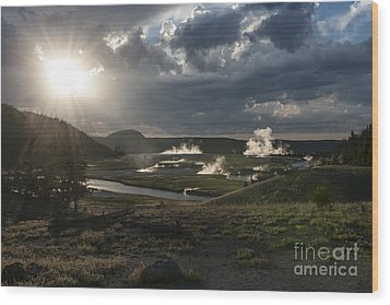 Sunset Over The Firehole River - Yellowstone Wood Print by Sandra Bronstein