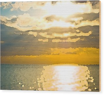 Sunset Over The Gulf Sun 92 Wood Print