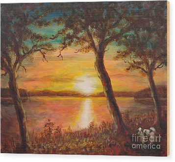 Sunset Over The Lake Wood Print by Martin Capek