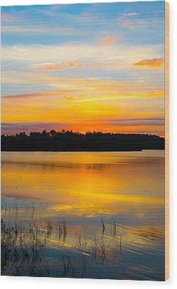 Sunset Over The Lake Wood Print by Parker Cunningham