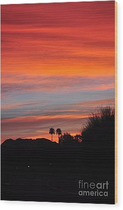 Sunset Over The Mountains Wood Print