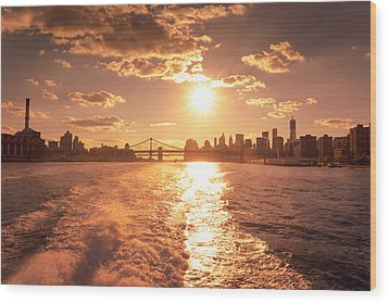 Sunset Over The New York City Skyline Wood Print by Vivienne Gucwa